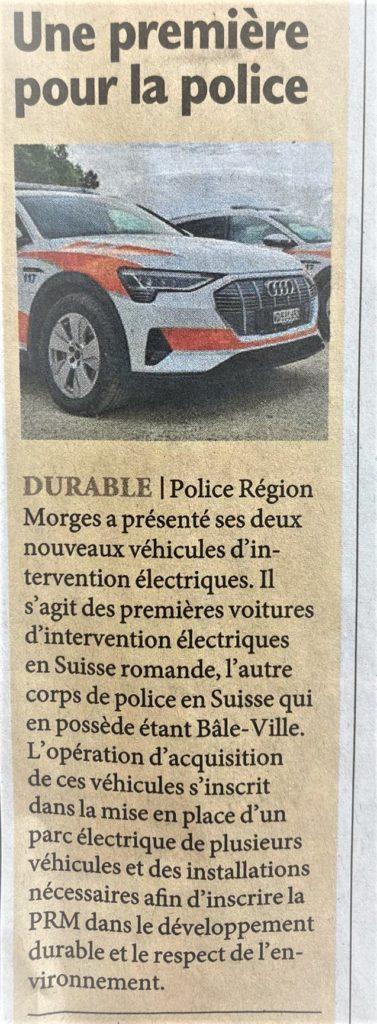 Article de presse: police Région Nyon présente ses véhicules électriques